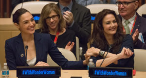 """UN HEADQUARTERS, NEW YORK, NY, UNITED STATES - 2016/10/21: Original and remake """"Super Woman"""" stars Lynda Carter (R) and Gal Gadot (L) are seen at the ceremony. An event was held in the United Nations Headquarters' ECOSOC Chamber to commemorate the 75th anniversary of """"Wonder Woman"""" and to celebrate the designations of the character as """"Honorary Ambassador for the Empowerment of Women and Girls."""". (Photo by Albin Lohr-Jones/Pacific Press/LightRocket via Getty Images)"""